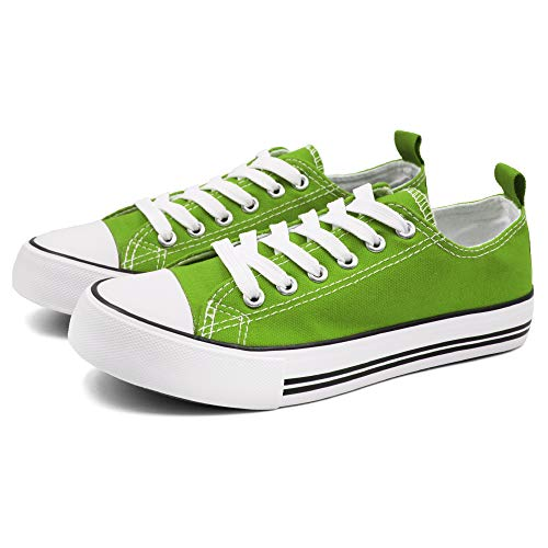Epic Step Low Top Cap Toe Women Sneakers Tennis Canvas Shoes Casual Shoes for Women Flats- Comfortable Walking Tennis Shoes (Light Green, 9)
