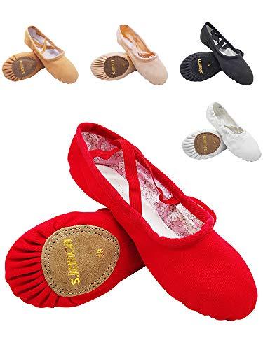 s.lemon Zapatillas de Ballet Niña Lona Suela Partida Principiantes Danza Zapatos Ballet Zapatos para Niños Adulto 24-47 Rojo (28 EU)