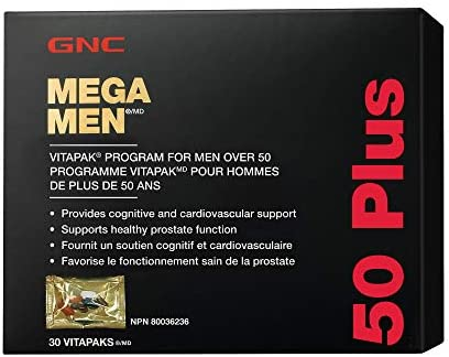 GNC Mega Men 50 Plus Vitapak 30 Servings Supports Healthy Prostate Function and Cardiovascular product image
