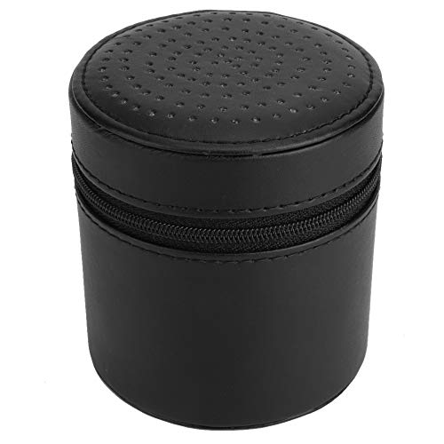 OIHODFHB Caja de almacenamiento de reloj de rejilla redonda de cuero portátil caja de almacenamiento de reloj de pulsera