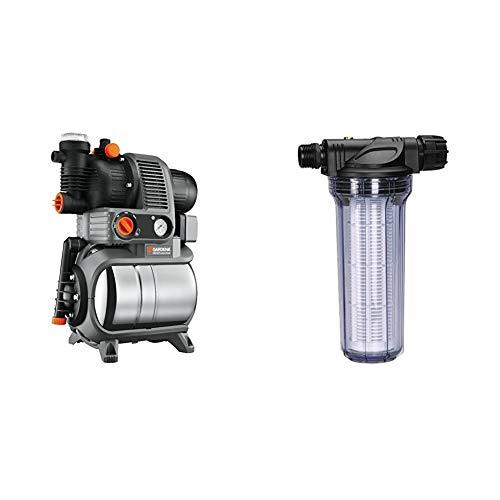 Gardena Premium Hauswasserwerk 5000/5 eco inox: Hauswasserpumpe mit Druckkessel aus rostfreiem Edelstahl, 4500 l/h Fördermenge & Pumpen-Vorfilter für Wasserdurchfluss bis 6000 l/h