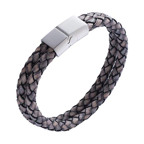 Jewellery Bracelets Bangle For Womens Men Jewelry Double Layer Handmade Leather Rope Bracelet Weaved Male Bracelets Stainless Steel Classic Bangles-Gray_Wearing_Length_165Mm