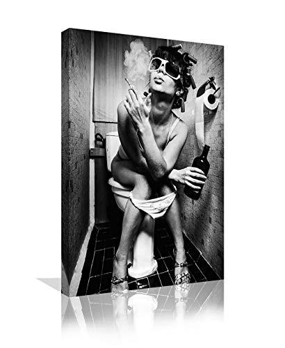 Black and White Fashion Toilet Sexy Woman Canvas Print Modern Bar Girl Smoking and