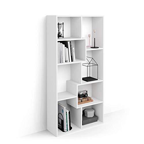 Mobili Fiver, Libreria Bassa XS Iacopo (160,8 x 80 cm), Bianco Frassino, Nobilitato, Made in Italy, Disponibile in Vari Colori