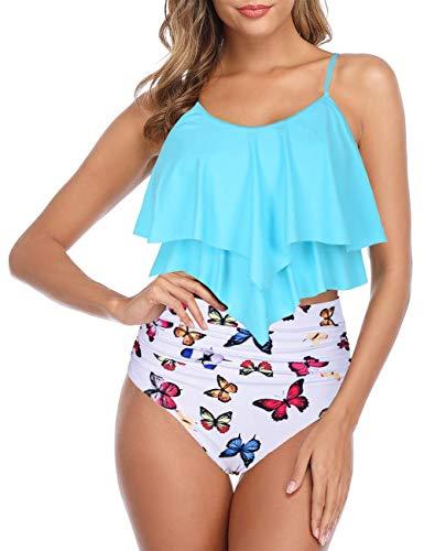 Firpearl Women's High Waisted Two Piece Swimsuit Flounce Bikini Set Ruffle Bathing Suits S/US 4-6 Blue&White