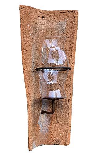 zeitzone Echt Antiker Dachziegel Wandkerzenhalter mit Glas Windlicht