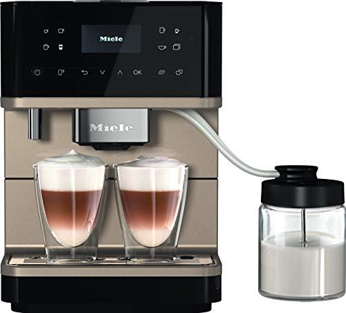 Miele CM 6360 MilkPerfection Kaffeevollautomat / Getränkevielfalt / Expertenmodus / mit Milchgefäß / OneTouch for Two / Vernetzung WiFiConn@ct / 8 Genießerprofile / Obsidianschwarz CleanSteel Metallic