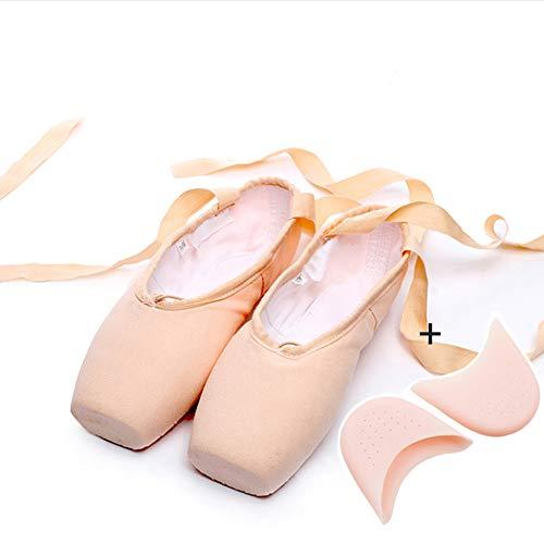 ZED- Ballet Pointe Schoenen Satijn/Canvas Dansschoenen met Genaaid Lint en Silicone/Sponge Toe Pads voor Meisjes Womens