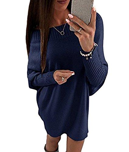 Minetom Damen Elegant Schulterfrei Langarm Lose PulloverKleid Strickkleid Sweater Oberteile Oversized Sweatshirt Tops Lang Marineblau DE 36