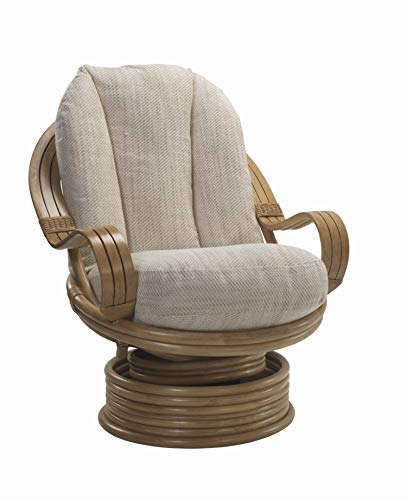 Desser Light Oak Laminated Swivel Rocker Chair in Jasper Fabric – 360° Swivel & Rocking Motion with Laminated Arms – Real Cane Rattan Conservatory Indoor Furniture – Quallofil - H98cm W83cm D98cm