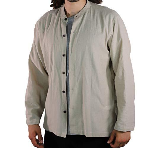 KUNST UND MAGIE Herren Hemd unifarben Fischerhemd Freizeithemd, Größe:XXL, Farbe:Hanffarben