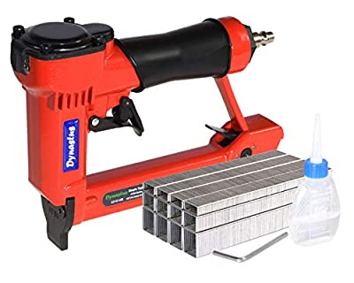 "Pneumatic Upholstery Staple Gun, 21 Gauge 1/2"" Wide Crown Air Stapler Kit, by 1/4-Inch to 5/8-Inch, 1/4-Inch to 5/8-Inch, with 3000 staples"