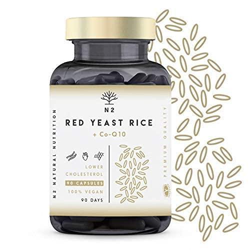 Levadura de arroz rojo. Concentrada 10mg Monacolina K, Coenzima Q10. Regula los Niveles de Colesterol en Sangre   Bienestar Cardiovascular   Antioxidante. Vegano 90 Cápsulas N2 Natural Nutrition