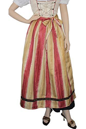 German Wear Lang Dirndlschürze Trachtenschürze Rot/Gelb, Größe:42-44