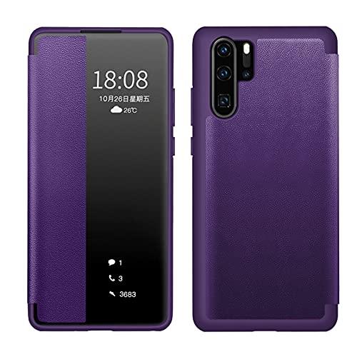 XYOUNG Funda para Huawei P30 Pro (6.47''), transparente vista lateral Smart Window Folio FILP Funda con función de encendido y apagado automático, violeta