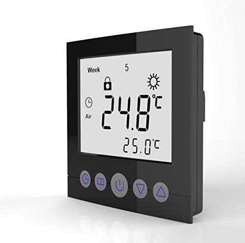 SM-PC®, Digital Thermostat Raumthermostat Fußbodenheizung Wandheizung LED schwarz matt #a22