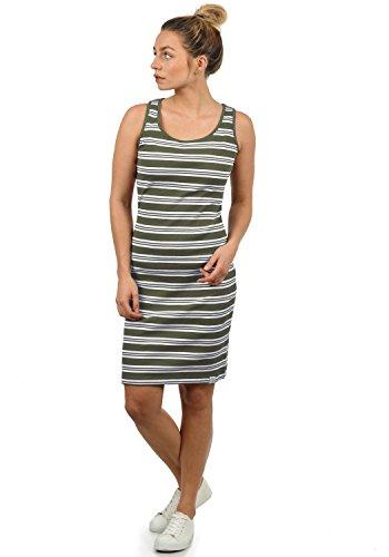 DESIRES Rahile Damen Kleid Sommerkleid Dress in Streifen-Optik mit Rundhals-Ausschnitt aus 100% Baumwolle, Größe:XS, Farbe:Dusty Olive (3784)