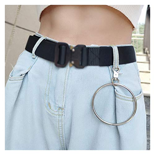 DSKLM Fashion personality Punk hip-hop multi-layer pants waist chain heart-shaped pearl key chain trousers jeans jeans key chain key ring fashion jewelry Clothes Accessories (Color : Large circle)