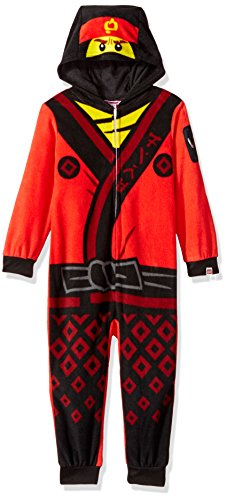 LEGO Ninjago Little Boys Costume, Onesie Pajamas, All-in-One Set, Red/Black, 4/5