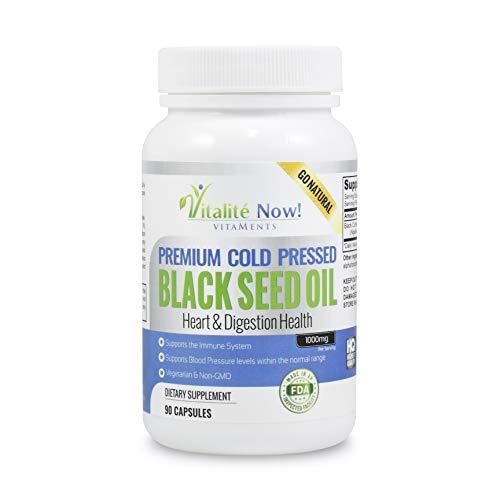 Pure Black Seed Oil - Immunity - Anti-Inflammatory - Antioxidant - Heart & Digestion Health - Cold Pressed Nigella Sativa Black Cumin Seed - 500mg (1,000mg p/s) - Non-GMO & Veg