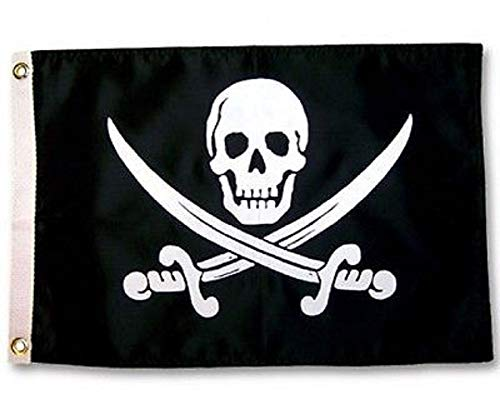 usep Jolly Roger Calico Jack Rackham Pirate 12x18 Boat Flag Indoor/Outdoor