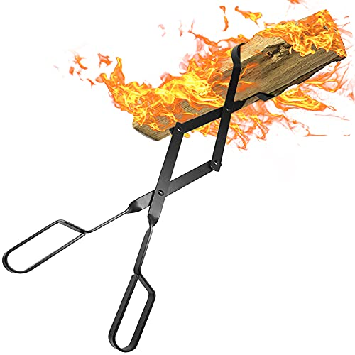 Amagabeli Firewood Tongs Log Grabber 26' for Fire Pit Campfire Firepit Bonfire Fireplace Heavy Duty Wrought Iron Claw Large Outside Outdoor Indoor Long Wood Stove Fire Place Tools Accessories