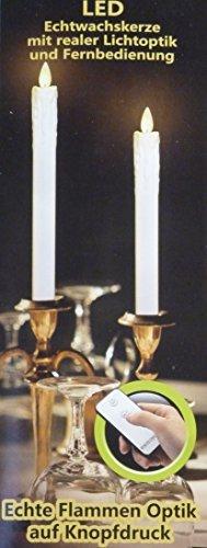 Pretty Home LED echt wachs Stabkerzen weiß Elfenbein flammenlose Kerze mit Fernbedienung