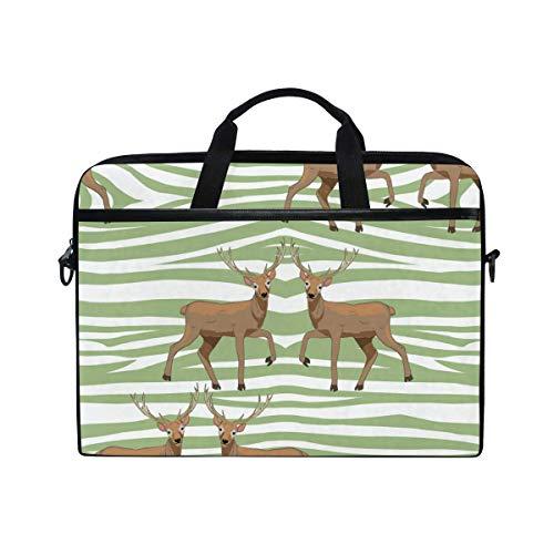 Laptop Sleeve Case,Laptop Bag,Cartoon Animal Deer with Green Zebra Skin Print Water Briefcase Messenger Notebook Computer Bag with Shoulder Strap Handle,29×40 CM/15.6 Inch