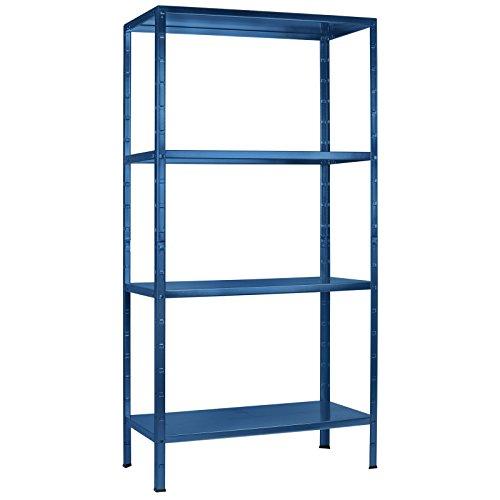 Regal Steckregal blau Metall 180x80x40cm Regalsystem Steckregalsystem  4 Metall-Böden Traglast 260kg einfache Montage durch Stecksystem kein Verschrauben Schulte
