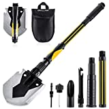 OKOOLCAMP Survival Camping Shovel Multifunctional Folding Shovel 15-28inch Heavy Duty Alloy Steel Tactical Shovel with Saw for Hiking, Backpacking, Gardening, Hunting, Car Emergency, Snow