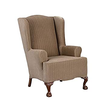 SureFit Stretch Pinstripe T-Cushion Wing Chair One Piece Slipcover Form Fit Polyester/Spandex Machine Washable Taupe Color