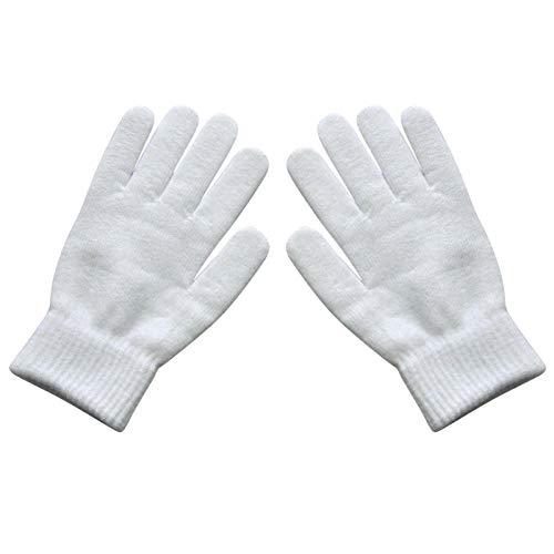 Unisex Invierno Acanalado con Punto Guantes de Dedos completos Mujeres Mujeres Clásico Básico Espesado Forro Mittens Guantes de Pulsera térmica 322 (Color : White)
