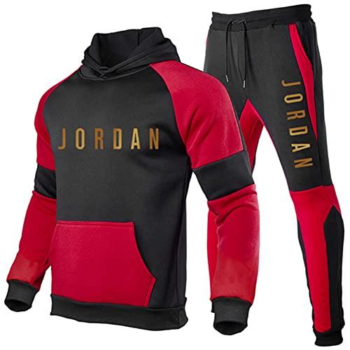 Jordan 23# Männer Trainingsanzug Set Hoodie Top Bottoms Joggen Jogger Gym Sport Trainingsanzug Bottoms 2-teilige Anzüge,Red3,XL