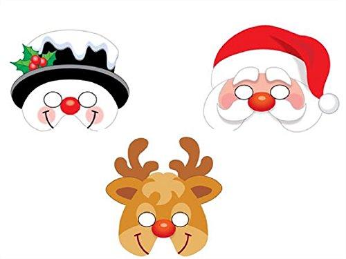 1 x Christmas EVA Foam Masks - assorted designs - Santa, Snowman & Reindeer by Playwrite