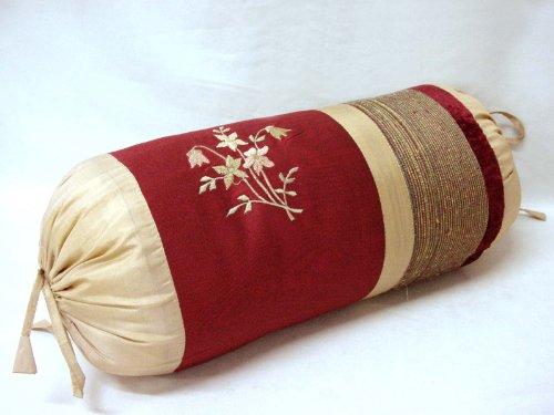 0 www.working-house.com (Textil / Cojines) Funda DE COJIN Cama Sofa Rollo Redondo Granate Rojo Dorado Flor Bordada