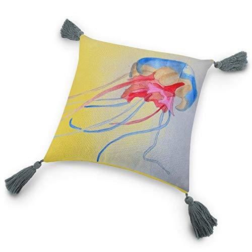 Funda de almohada con inserto de 9.8 x 9.8 pulgadas, medusas Sea Creature Original Art Decorativo Funda de cojín con borlas para dormitorio, sala de estar y sofá