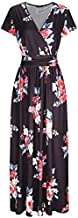 OUGES Women's V-Neck Pattern Pocket Maxi Long Dress(Floral-6,XXL)