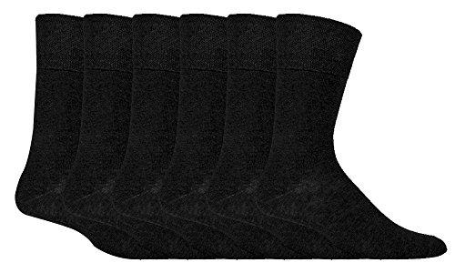 IOMI - 6 pares hombre sin elasticos diabeticos calcetines para la circulacion (39-45 eur, Black)