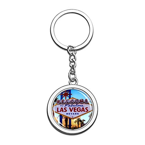 America Usa Sign Las Vegas Keychain Key Chain Souvenir Spin Crystal Metal Stainless Steel Chain City Travel Gift