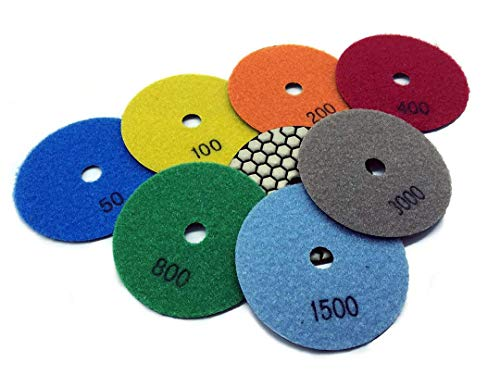 Save %25 Now! 4 Inch 4 Diamond Resin Premium DRY Polishing Pad 75 Pieces for Granite Marble Concret...
