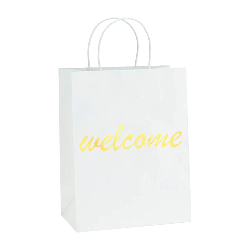 BagDream White Kraft Paper Welcome Gift Bags Bulk with Handles 25Pc, 8x4.25x10.5