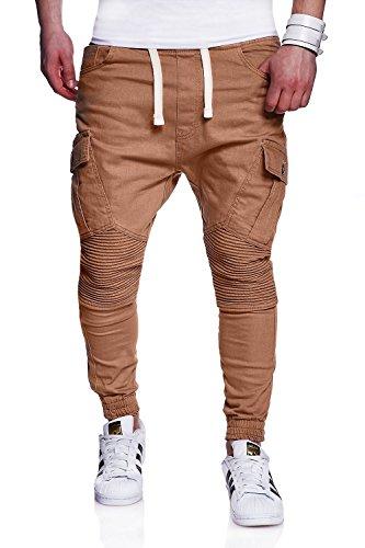 MT Styles Biker Jogger-Jeans Chino Hose RJ-2276 [Beige, W36]