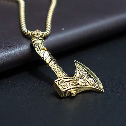 Halskette Antike Goldene Und Silberne Farbe Wikinger Axt Anhänger Halskette Mythisches Wolf Beil Lange Kette Halskette Männlicher Schmuck Antiquegold