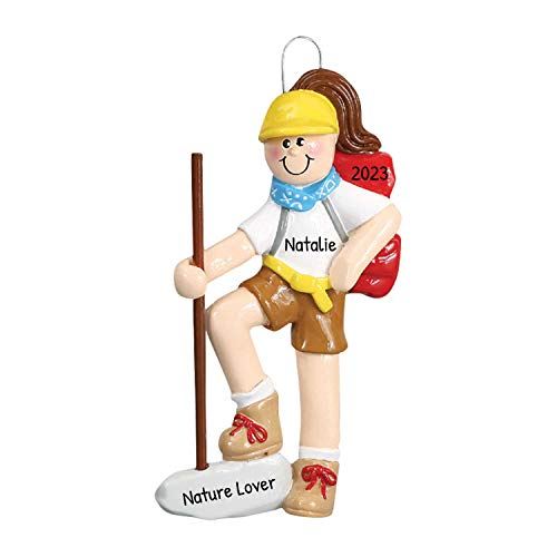 Personalized Hiker Girl Christmas Tree Ornament 2020 - Brunette Nature Lover Active Walking Trekking Pole Backpack Group Out Hobby First Cliff Mountain Brown Gift Year - Free Customization (Female)