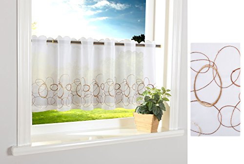 Aura Scheibengardine Durchzuglöcher für Gardinenstangen Scheibe Gardine Küche Braun HxB 40x120 cm, 112240