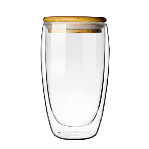 Double-wall Borosilicate Glass Cup Coffee Mug Cup 16 oz (bamboo lid)