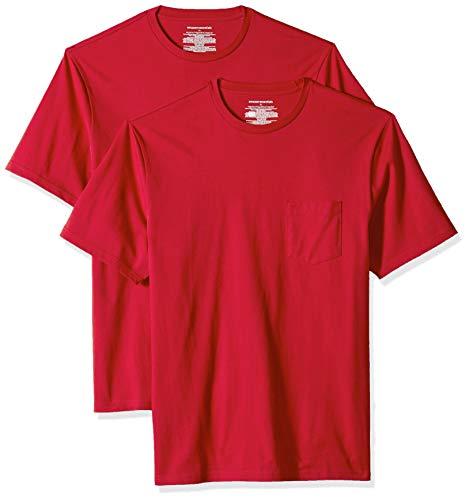 Amazon Essentials - Pack de 2 camisetas de manga corta y corte holgado con cuello redondo y bolsillo para hombre, Rojo (Red Red), US M (EU M)