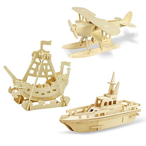 Georgie Porgy Puzzle in Legno 3D Collezione di Modelli Animali Traffico Confezione da 3 Kit per Costruzioni in Legno Kids Jigsaw Toy età 5+ (Idrovolante Nave Pirata Barca)