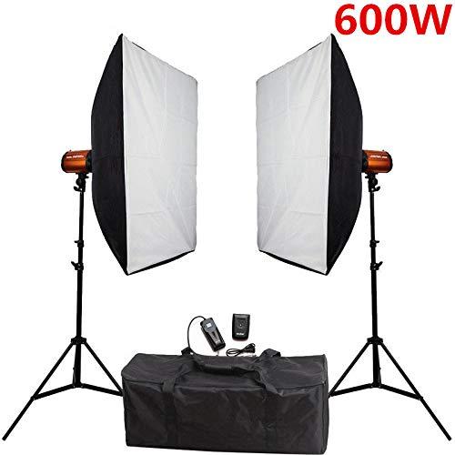 MDFGHJD Kit di Illuminazione Flash per Soft Box da Studio Fotografico 600Ws Luce stroboscopica + Set di Supporti per softbox Accessori per Studio Fotografico,1