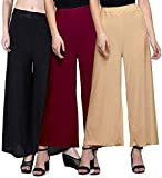 SwaNit Women's Loose Fit Plain Palazzo (Free Size- Pack of 3)